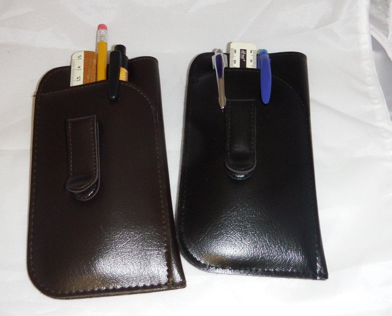 Retro Vintage Style Pouch Brown Pocket Clip Eyeglass case