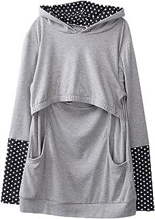 Charm Kingdom Women's Maternity Breastfeeding And Nursing Hoodie Long Sleeve Top