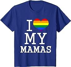 Kids Gay Moms Baby Clothes I Love My Mamas LGBT Flag T Shirt