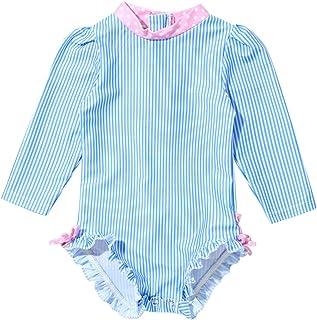 Nimiya Toddler Baby Girls Long Sleeve Zipper Rash Guard One Piece UPF 50+ Sun Protection Swimsuit Bathing Suit