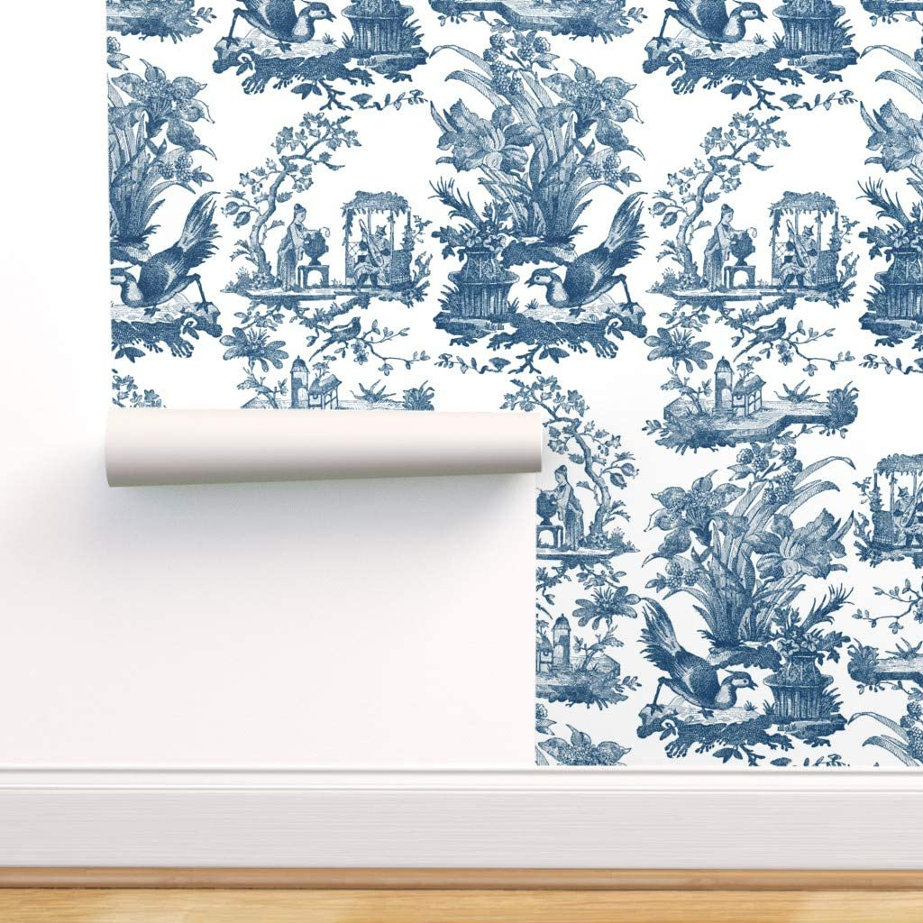 Spoonflower Peel and Stick Toil 割引も実施中 Wallpaper Removable Chinoiserie 買い物