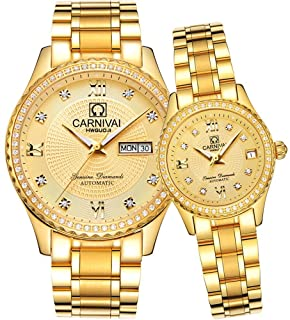 Men and Women Automatic Watch Gold Silver Stainless Steel Dress Couple Watches for Her and His Set of 2
