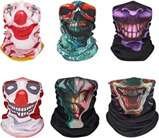 MoKo Face Mask for Cold Weather [6 Pack], Neck Gaiter Shield Scarf Elastic Seamless Balaclava Headbands Headwear, Windproof Skull Clown Bandana for Men Women for Motorcycle Cycling Riding Skiing Party