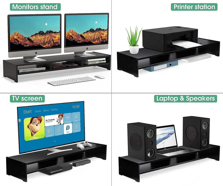 MaxGear Large Dual Bamboo Monitor Stand Riser, 2 Tiers Solid Wood Shelf for Desk, Support Heaviest Monitors, Printers, Laptops, TV, Shelf Organizer for Office, Desktop Storage Organization, Black