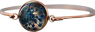 Roségold Armreif mit echten blauen Blüten - Geschenk für Sie - Schmuck Geschenk - Handmade Geschenk