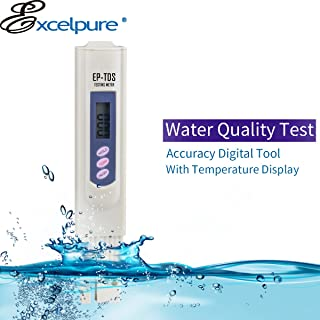 ExcelPure TDS Handheld TDS Meter with 3-Button Digital, Carrying case for Household Drinking Water,Aquarium Pool, Swimming Pools (0-9990 ppm Measurement Range; 1 PPM Accuracy)
