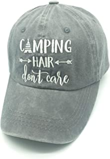 Camping Hair Don t Care Vintage Embroidered Adjustable Dad Hat Baseball Cap