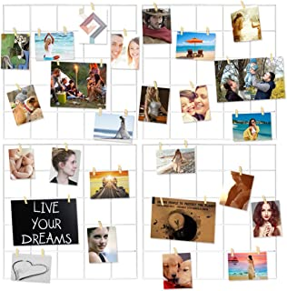 Ecjiuyi 4 Pcs Multifunction Metal Mesh Wire Grid Panel with 30 Clips,Wall Decor/Photo Wall/Ins Art Display & Organizer for Room & Office (White)