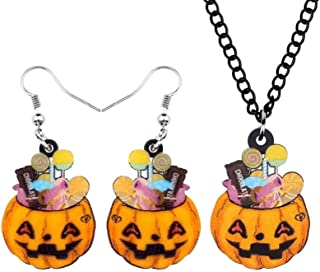 Acrylic Halloween Sweet Pumpkin Candy Jewelry Set Necklace Earrings Women's Girls Children Classic Holiday Gift Decoration...