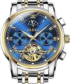 Automatic Mechanical Men Watch Tourbillon Moon Phase Stainless Steel Dress Fashion Business Luminous Waterproof Date Week Male Wrist Watch