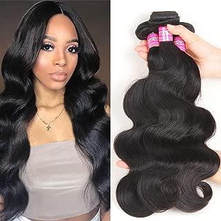 VRBest Hair Brazilian Body Wave Virgin Hair 3 Bundles 8A 100% Unprocessed Virgin Human Hair Bundles Weave Extensions Natural Black Color Remy Hair (14 16 18)