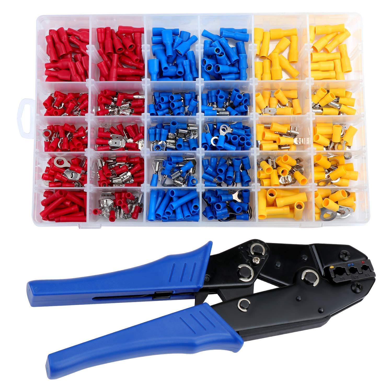 HSEAMLL - Juego de herramientas de crimpado de trinquete, AWG22-10/0,5-6 mm2 alicates de crimpado con 500 piezas de conectores de terminales de alambre de horquilla de pala de culata: Amazon.es: Bricolaje y
