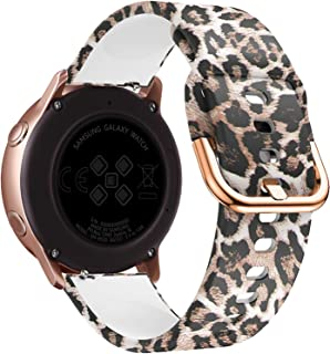FanTEK Band for Samsung Galaxy Watch Active (40mm) / Galaxy Watch Active2 (40mm & 44mm), 20mm Silicone Sport Quick Release Replacement Strap, Leopard