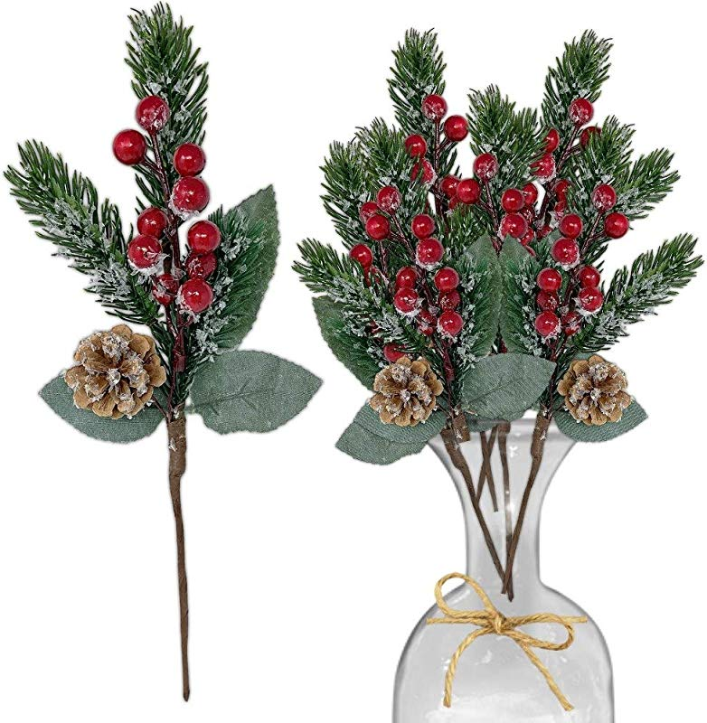 Pine Snowy Flower Picks 10 Pieces Snow Flocked Red Holly Berry Pine Cone Holiday Floral Sprays Decoration 11 Inch Flexible Stems DIY For Christmas Crafts Party Festive Home D Cor