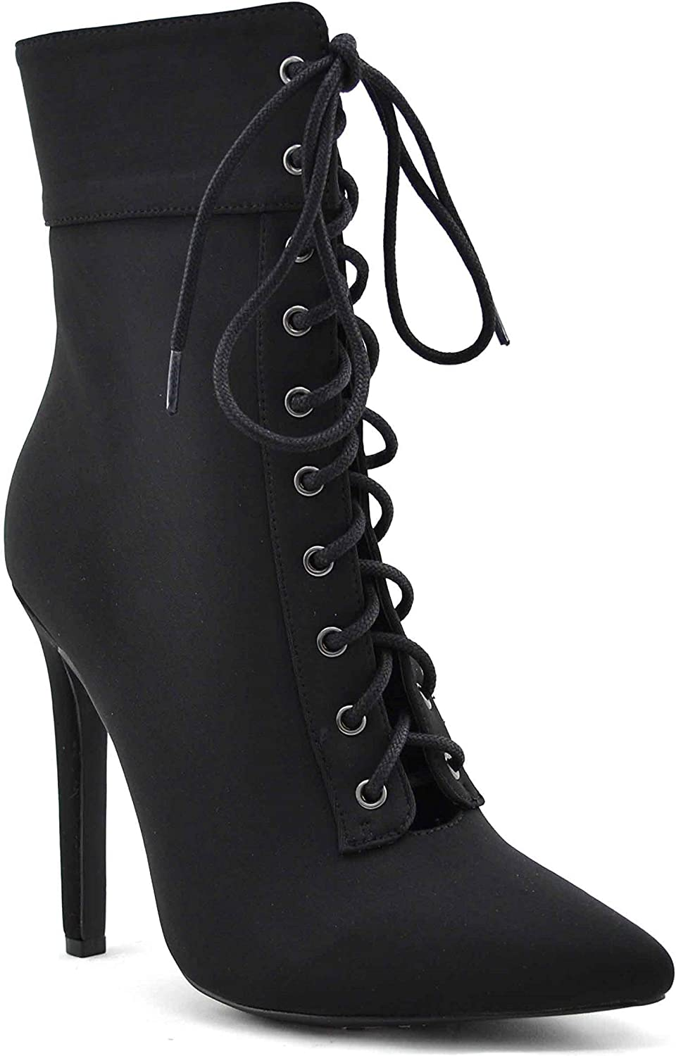 Women's Pointed Toe High Heel Ankle Booties | Lace-Up Tie | Side Zipper | Pencil Stiletto Heel Shoe Boots