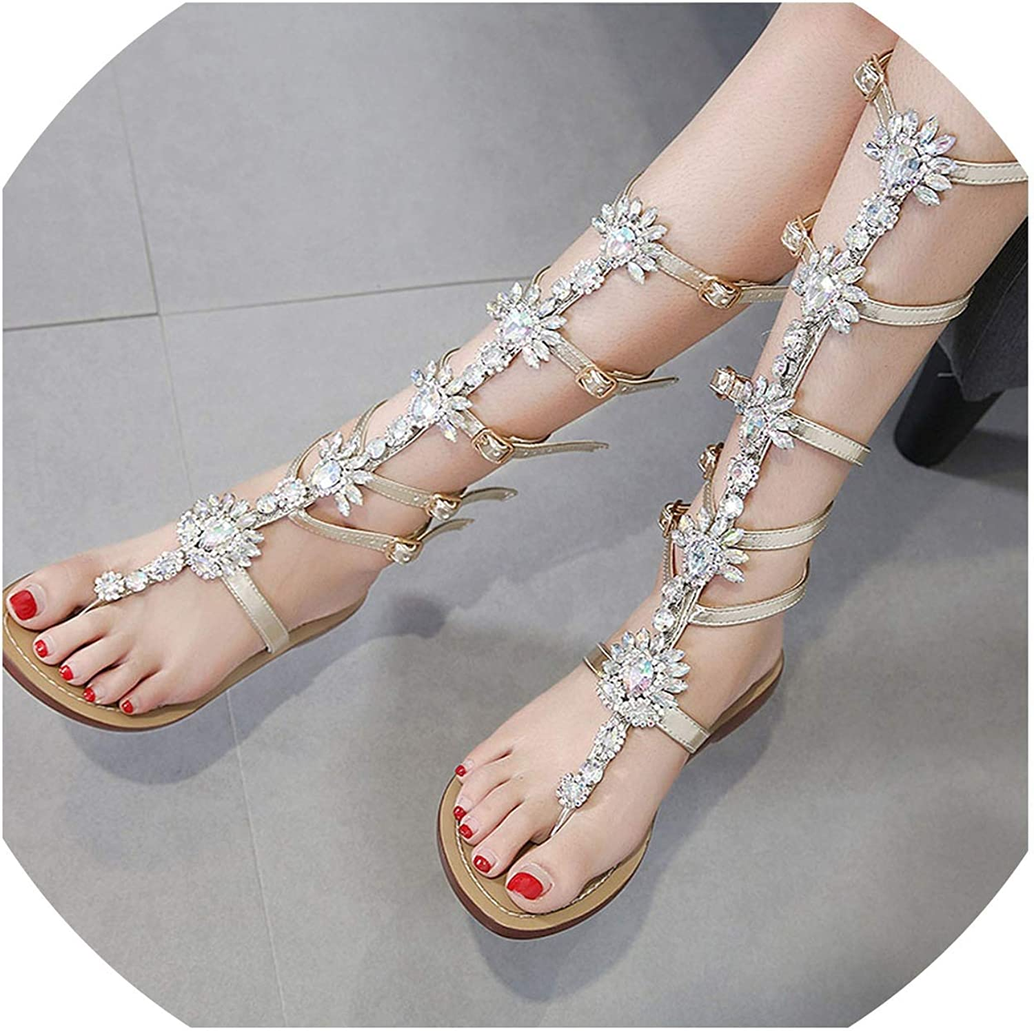 Large Size 35-42 New Summer Rhinestone Flat Metal Chain shoes Pinch Retro Flat Heel Sandals for Women