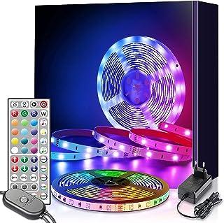 LED Strip 6m, RGB LED Streifen, LED Lichterkette mit Fernbedienung 6m Upgrade auf 6m, Musiksync Farbwechsel LED Band Licht...