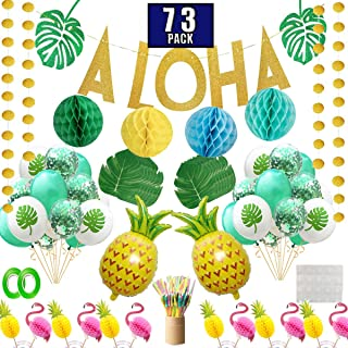Funnlot Hawaiian Party Decorations 73Pcs Luau Birthday Party Supplies Including Aloha Banner Tropical Palm Leaves Cake Topper Balloons Drinking Umbrella Straws for Aloha Party Summer Party