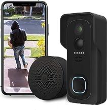 Nikkei BELL4 - Slimme videodeurbel met Full HD 1080P camera en wifi - met Binnen-Bel, Night Vision, Bewegingsdetector, Nik...