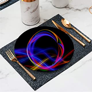 Art Ceramic dinner plates Decorative Glass Plate Ball abstract pattern line zone circle edge outline wave sport swing swirl light Decor for Living room wall/dining table/Office,7 inch