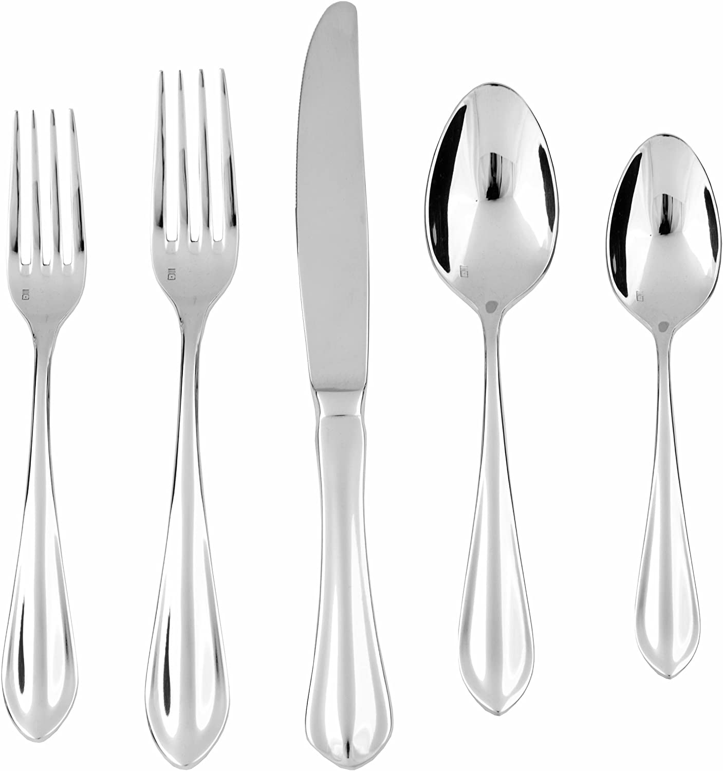 Fortessa Bistro 18 10 Stainless Steel Flatware Set, Service for 1, 5-Piece Forge 5-Piece Silver