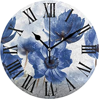 Tarity Silent Round Wall Clock, Blue Flowers Decorative...