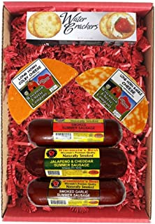 WISCONSIN'S BEST & WISCONSIN CHEESE COMPANY'S - 100% Wisconsin Deluxe Colby Longhorn Cheese, Sausage & Cracker Gift, Birth...