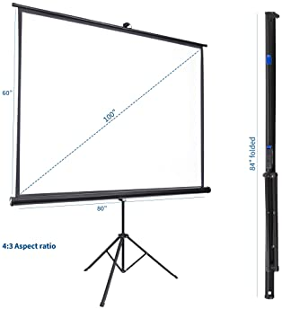 """VIVO 100"""" Portable Indoor Outdoor Projector Screen, 100 Inch Diagonal Projection HD 4:3 Projection Pull Up Foldable S..."""