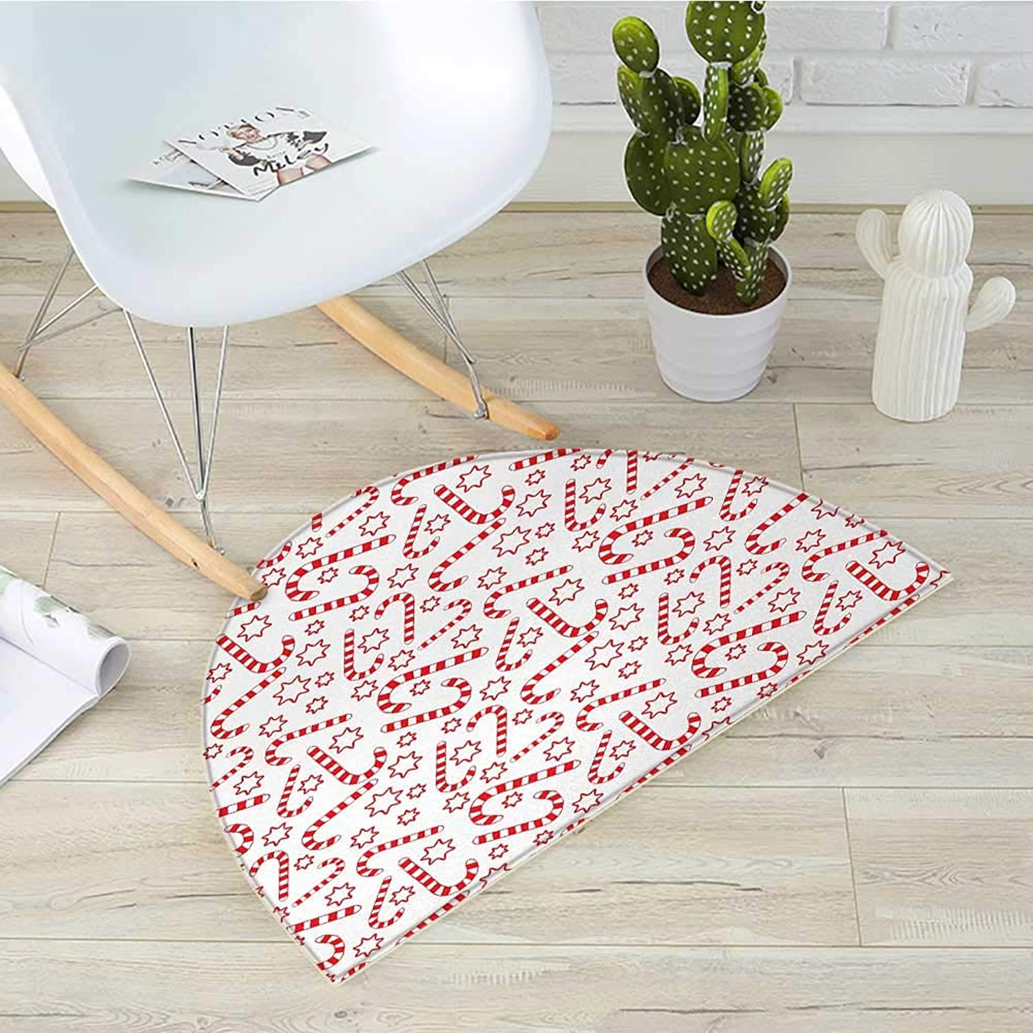Candy Cane Half Round Door mats Illustration of Xmas Themed Figures Traditional Candies and Stars Seasonal Bathroom Mat H 39.3  xD 59  Vermilion White