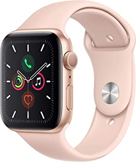 Apple Watch Series 5-44mm Gold Aluminium Case with Pink Sand Sport Band - S/M & M/L, GPS, watchOS 6, MWVE2