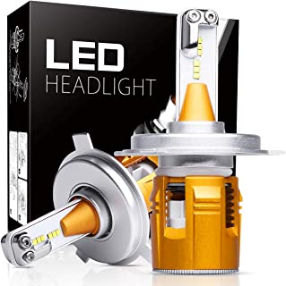 H4 LED Headlight Bulbs, Autofeel 8000LM Super Bright Car Exterior White Light Built-in Driver Lamp All-in-One Conversion Bulb Kit with 6000K Cool White Lights - 1 Year Warranty