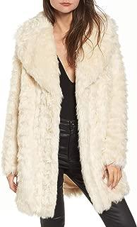KENDALL + KYLIE Womens Winter Warm Faux Fur Coat Ivory XS