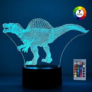 SOKY Lampara 3D, Dinosaurio Juguete Niño 3 4 5 6 7 8 Años Halloween Decoracion Regalos para Niños de 3-8 Años Regalos Niños Cumpleaños Luces Led Lampara Niños