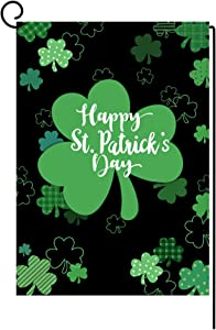 Happy St. Patrick's Day Garden Flag Vertical Double Sided Green Shamrock Garden Flag, St Patricks Day Holiday Yard Home Outdoor Decoration 12.5 x 18 Inch