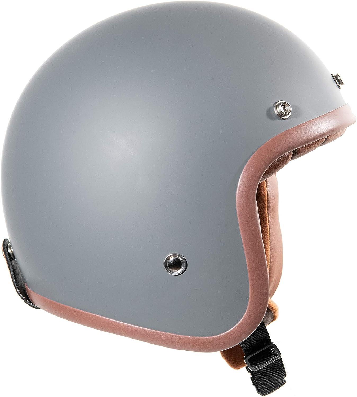 Original Fräulein Irmi Retro Vespa Helm Jet Helm Mit Sonnen Visier Roller Helm Für Frauen Und Herren Im Edlen Vintage Look Qualität Nach Ece Norm Grau Matt Auto