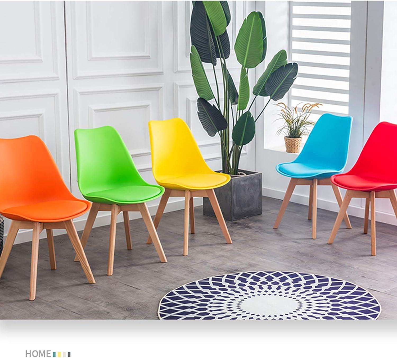 GW Chaises Salle à Manger scandinaves avec Pieds en Bois Tulipes siège rembourré Salon Cuisine Design Nordique 82x42x42cm,Blanc Orange