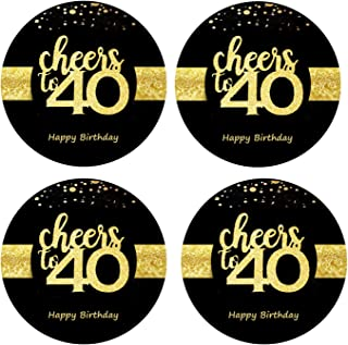 Sumerk 48 PCS Cheers to 40 Stickers Large Bottle Stickers 40th Birthday Stickers Card Seals 2 INCHES Round Happy Birthday Party Favors Stickers