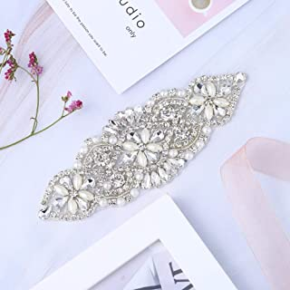 Crystal Rhinestone Applique - Bridal Wedding Applique Pearls Beaded Dacorations Handcrafted Sparkle Elegant Sewn or Hot Fix for Women Gown Sash Evening Prom Party Dress Belt Clothes - Silver
