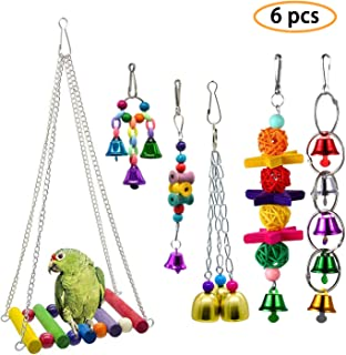N// hfjeigbeujfg Bird Toy,Parrot Cage Chewing Toys Wood Pet Bird Parrot Parakeet Cockatiel Hanging Bell Stand Cage Swing Chew Toy
