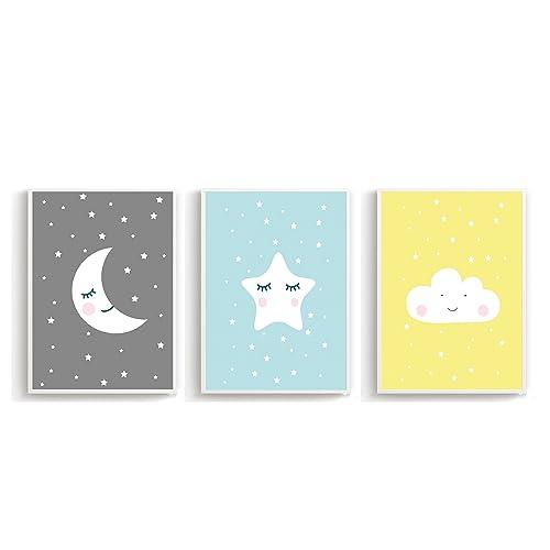 Poster mural pour chambre d'enfant, chambre de bébé poster décoration murale, impression murale enfants (Format A4Lot de 3) soleil, lune, étoile