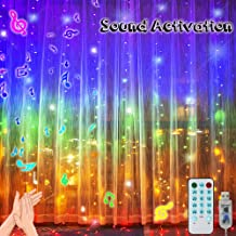 300 LED Music Control Rainbow Curtain Lights, Voice Activated Starry Fairy Lights Backdrop Window Lights 4 Sound String Lights for Wedding, Party, Christmas Outdoor Decorations-9.8ft x 9.8ft(5 Colors)