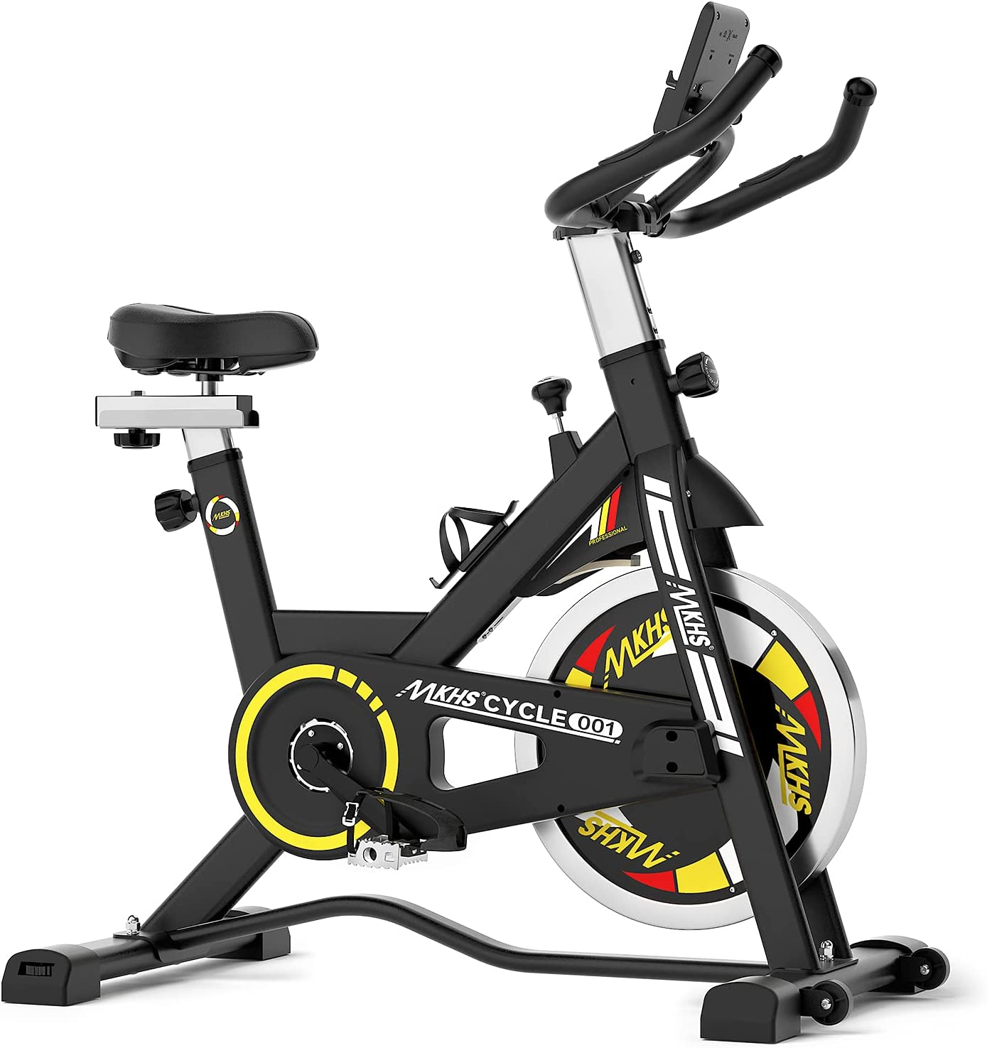 Exercise bike, MKHS indoor cycling bike stationary, Adjustable Seat and Handlebar, exercise spinning bike with LCD display, tablet holder, Stable Quiet and Smooth for Home Gym & Cardio Workout