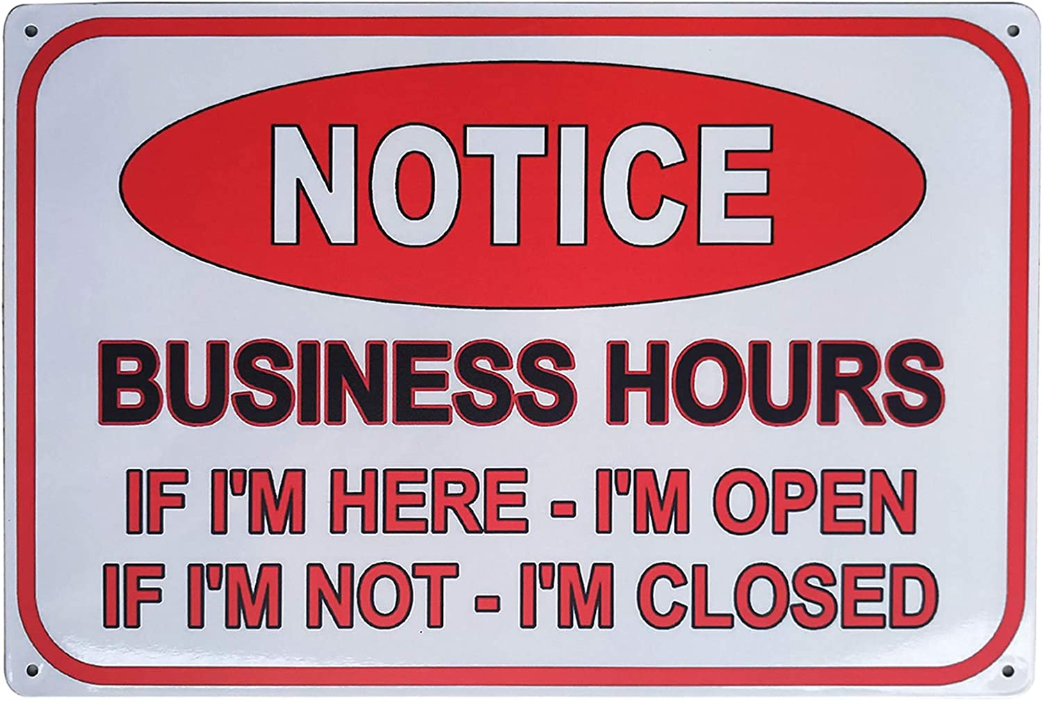 ZOVSON Notice Business Hours Open and Closed Sign Retro Vintage Metal Sign for Business Stores, Bars, Barber Shops 8x12Inches: Home & Kitchen