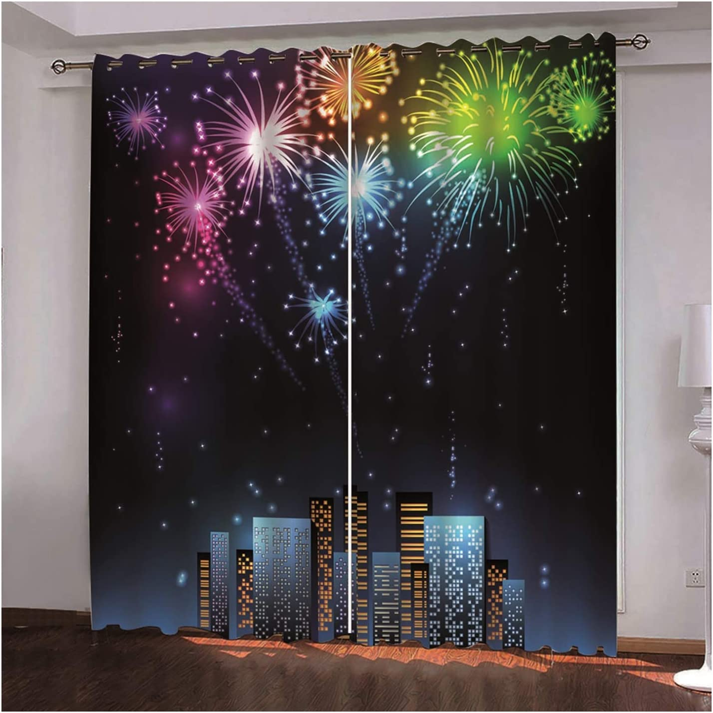 Daesar 3D Limited time trial price Christmas shopping Window Curtains Curtain for Bedroom 2 Panel