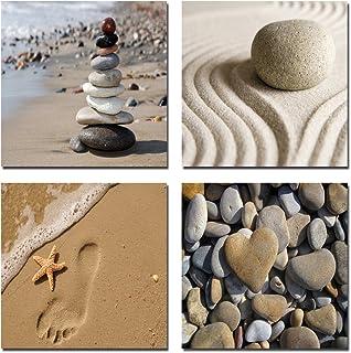 Wieco Art Romantic Beach Theme 4 Piece Modern Giclee Artwork Sea Beach Ocean Canvas..