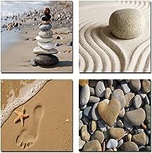 Wieco Art - Romantic Beach Theme 4 Panels Modern Sea Beach Artwork Ocean Giclee Canvas Prints Abstract Seascape Pictures t...