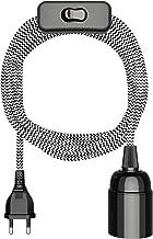 ledscom.de textiele kabel LEHA met stekker, schakelaar en E27-contactdoos, zwart/wit, 3m