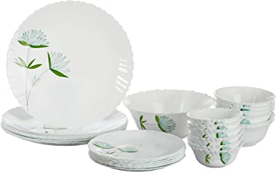 Borosil - Fluted Lily Dinner Set, 25-Pieces, Green