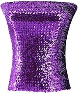 C.C-US Women's Sparkling Sequins Tube Top Strapless Stretchy Tank Top Crop Top Sexy Bra Party Costume Clubwear