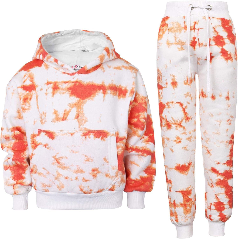 Kids Cropped Orange Tie Dye Tracksuit Hoodie Jogging Sweatpants Girls 5-13 Years